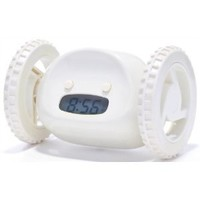 Running Alarm Clock on Wheels, White