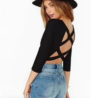 Black Long Sleeve Strappy Back Cropped Top