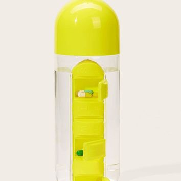 Portable Water Bottle With Pill Storage Box