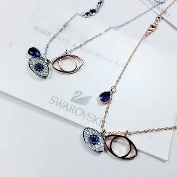 SWAROVSKI New fashion eye diamond circle gem pendant necklace