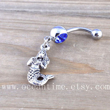 Mermaid Button Rings,Mermaid Navel Jewlery, sea belly button ring,navy ring, friendship belly ring