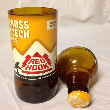 Red Hook Cross Czech Pils Beer Bottle Shot Glass Chaser Set. Recycled Glass Bottle. Rum and Coke. For Him. Man Cave.
