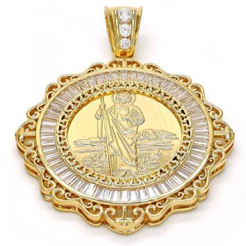 Gold Tone 05.185.0014.1.GT Religious Pendant, San Judas and Greek Eye Design, with White Cubic Zirconia, Polished Finish, Gold Tone