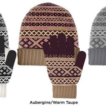 sag harbor women's faire isle beanie & gloves set Case of 48