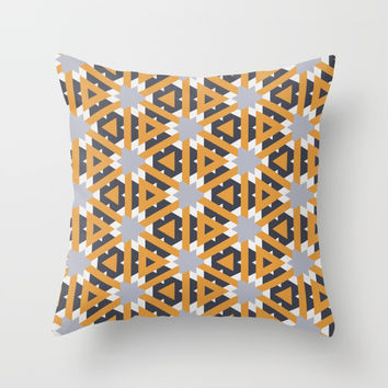 Yellow triangles Throw Pillow by g-man