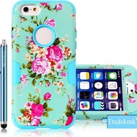 iPhone 6S Plus Case,iPhone 6 Plus Case, Tradekmk(TM) Brand New Fashion Hot Sale Hybrid Three-in-one Durable Bumper Hard Soft Combo Back Case Cover Protector[Elegant Orchid Pattern] Compatible with Apple iPhone 6 6S Plus(5.5)[+Stylus]-(Blue)