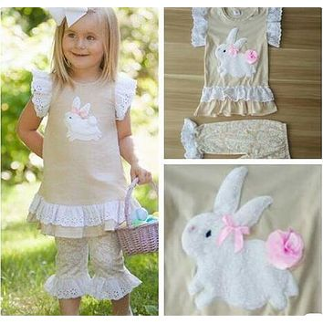New Arrival Girls Clothing Set Beige Color Bunny Pattern Butterfly Sleeve Top Print Pant For Easter Kids Outfits Clothes E013