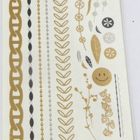 Temporary Metallic Jewelry Gold Silver Flash Tattoos - Variation 8