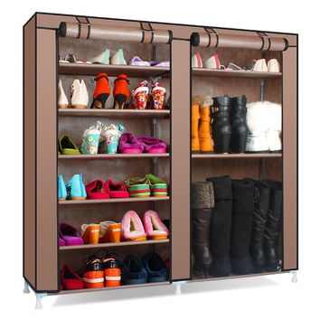 Solid Color Double Rows High Quality Shoe Rack. Has Large Capacity Shoes Storage Organizer Shelves DIY Home Furniture