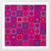 Pink and Purple Hippie Flower Pattern Art Print by Hippy Gift Shop