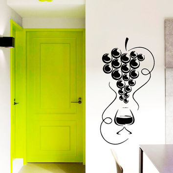 Wall Vinyl Decal Sticker  Wine Glass with Grapes Cafe Kitchen Art Design Room Nice Picture Decor Hall Wall Chu1098