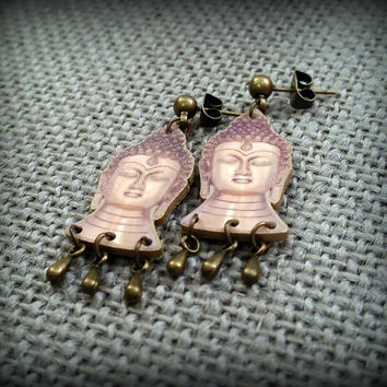 Buddha Earrings - Buddha Jewelry - Buddhist Earrings - Buddhism Fashion - Handmade Buddha Earrings - Plastic Buddha - Faux Show Art - Design