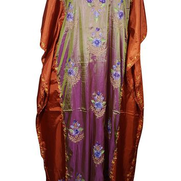Mogul Womens Caftan Maxi Dresses Kashmiri Embroidered Shaded Passion Designer Kaftans (Purple-2): Amazon.ca: Clothing & Accessories