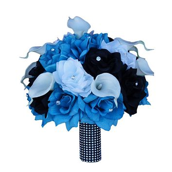"""10"""" Bridal Bouquet - Turquoise Malibu, White, and Black Quality Silk Roses and Real Touch Calla Lily"""