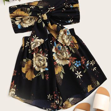 Floral Print Tie Front Tube Top & Shorts
