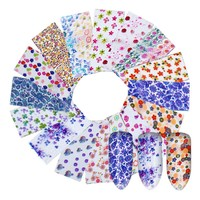 16pcs/Set Nail Foils Colorful Flower Pattern Nail Art Stickers Decals DIY Glue Nail Art Transfer Decals Set Nail Decorations