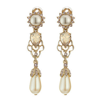 Oscar de la Renta Crystal and Pearl Drop C Earrings