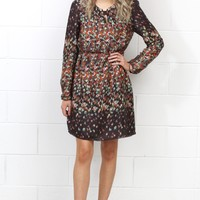 Printed Colors of Fall Silk Dress {Brown Mix}