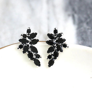 Black Earrings, Black Crystal Earrings, Black Swarovski Cluster Earrings, Gift for her, Bridesmaids Earrings, Black Crystal Silver Earrings