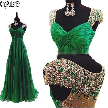 Vestidos 2017 Emerald Green Open Back Chiffon Prom Dresses Women Dresses with Stones and Crystals Luxury Back Evening Dresses