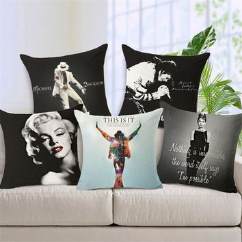 Hyha Marilyn Monroe Michael Jackson Elvis Presley Cushion Cover Audrey Hepburn Super Star Home Decorative Pillow Cover for Sofa