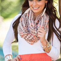 Brown Triangle Print Infinity Scarf CLEARANCE