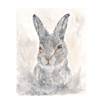 Original watercolor painting, rabbit painting, rabbit art, watercolor rabbit, nature, winter, December, watercolor animals, wildlife, 8X10