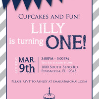 Cupcakes and Fun, Turning One, Flags Invitation : Pink/Navy