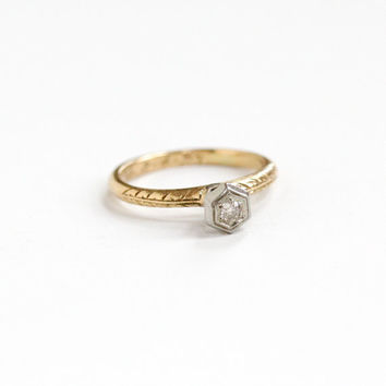 """Sale - Vintage 14k White & Yellow Gold Art Deco """"1923"""" Diamond Ring - Antique Size 5 1/2 Filigree Etched 1920s Dated Solitaire Fine Jewelry"""