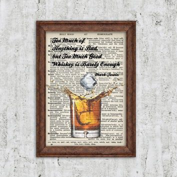 Whiskey Wall Art Alcohol Bar Drink art print Bourbon Decor Vintage Scotch Whiskey Wall Decor Dictionary Print Cocktail art Quote print