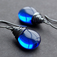 Oxidized Blue Glass Earrings, Sterling Silver Wire Wrapped Cobalt Czech Glass Flat Teardrop, Handmade Sterling Silver Earwires