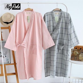 New Summer 100% cotton kimono mens robes sleepshirts bathrobes for men casual japanese yukata sleepwear couple pajamas
