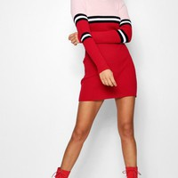 Maddie Colour Block Rib Knit Jumper Dress | Boohoo