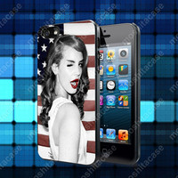Lana del Rey Cute Pose and American Flag Case For iPhone 5, 5S, 5C, 4, 4S and Samsung Galaxy S3, S4
