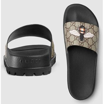 Gucci Trending Fashion Casual  Women Bee Print Sandal Slipper Shoes G