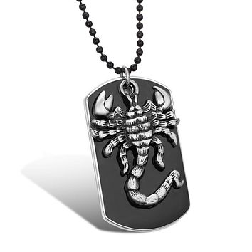Scorpion Dog Tag Black and Silver Necklace