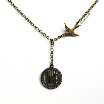 Love Bird Necklace. Brass Chain Sparrow Necklace.