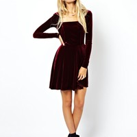 ASOS Velvet Skater Dress at asos.com