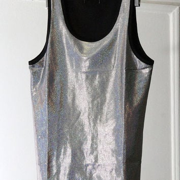 Holographic Silver Rainbow Shiny Metallic 90s Stretchy Tank Top