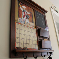Solid Maple Furniture Front Loading Double Pocket 2014 Calendar Frame Mail Organizer Double Mail slot with Chalkboard or Cork  and Keyhook