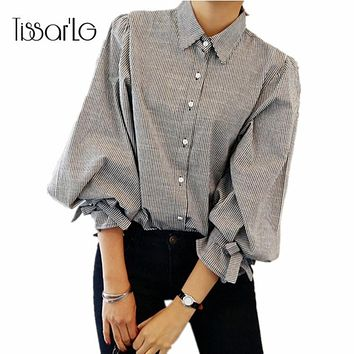TissarLG Women shirt 2017 New Fashion Striped Lantern Sleeve Turn-down Collar Bow Long sleeve Blouse Women Top cloth