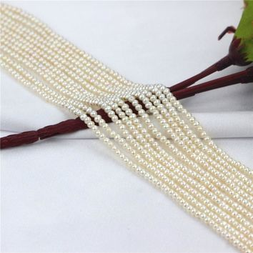 SNH 2.5-3mm round white AA grade fashion jewelry making pearl strings