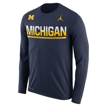 Michigan Wolverines Brand Jordan 2016 Staff Sideline Legend Dri-FIT Long Sleeve T-Shir