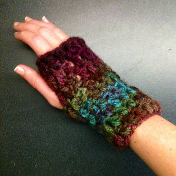 Crochet Fingerless Gloves Crochet Wrist Warmers Rainbow Gloves Crochet Gloves Thick Gloves Chunky Gloves Rainbow Wrist Warmers Warm Gloves