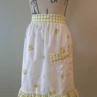 Floral and Lace Apron, Vintage Apron, Recycled Materials, Lace Doily, Handmade Apron, Yellow Green White, Green Gingham