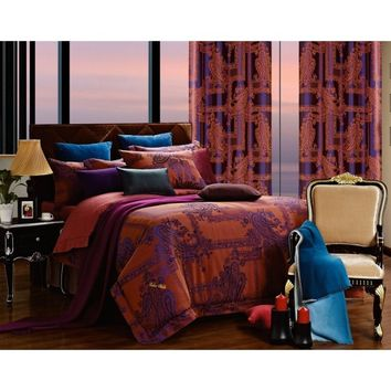 Dolce Mela DM472Q Jacquard Damask Luxury Bedding Queen Duvet Cover Set - Gifts for You and Me