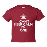I Can't Keep Calm I'm ONE Great First Birthday T Shirt Makes Great Gift Birthday Party First Birthday Tee 6 Months Thru 5-6 T ALL COLORS