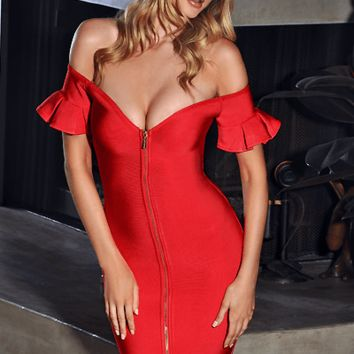 Lets Get Lost Off Shoulder Bandage Dress