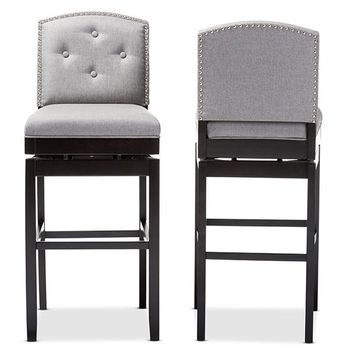 Baxton Studio Ginaro Modern and Contemporary Grey Fabric Button-tufted Upholstered Swivel Bar Stool Set of 2