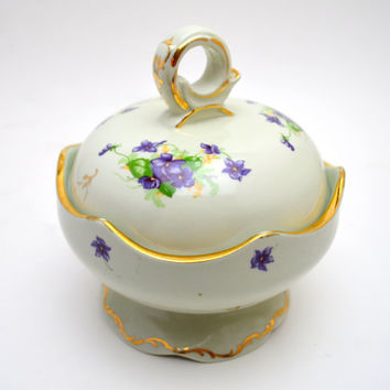 Vintage Leneige China Covered Bowl, Porcelain Candy or Sugar Bowl with Lid, Soft Green with Purple African Violets, 1930s-1950s